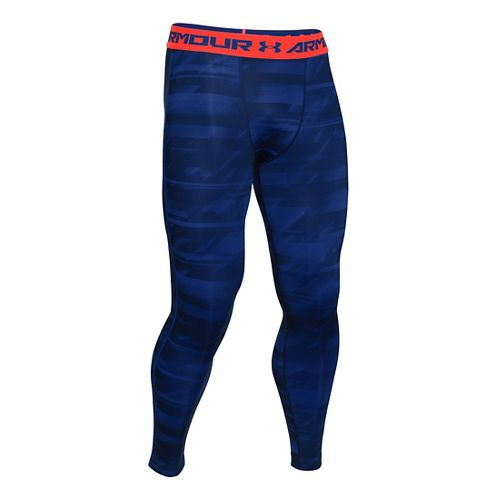 Mens Under Armour HeatGear Compression Printed Leggings Tights - Academy/Orange S