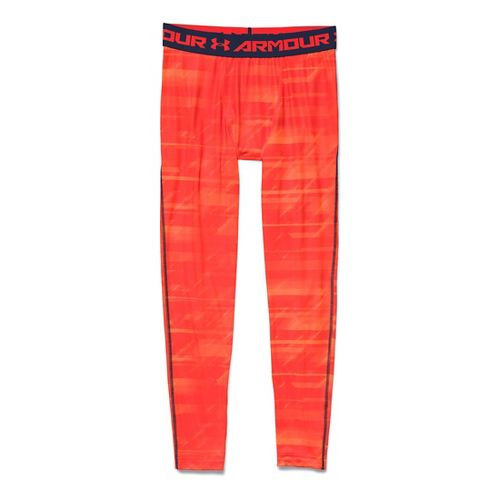 Mens Under Armour HeatGear Compression Printed Leggings Tights - Orange/Academy S