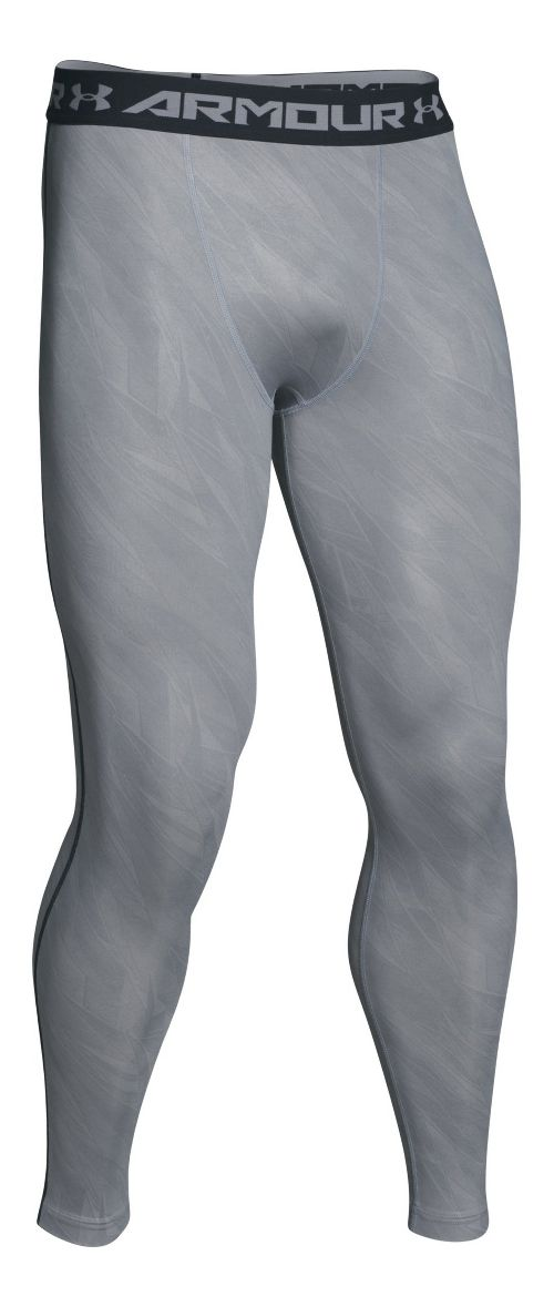 Mens Under Armour HeatGear Compression Printed Leggings Tights - Overcast Grey XXL