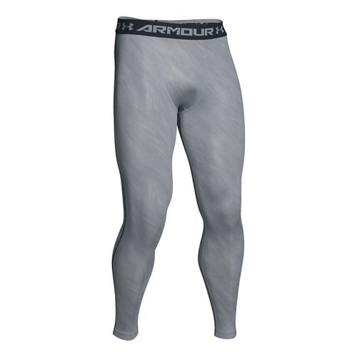 Mens Under Armour HeatGear Compression Printed Leggings Tights - Overcast Grey XL