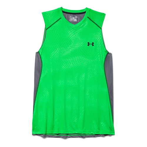 Mens Under Armour Raid Tee Sleeveless Technical Tops - Green/Graphite L