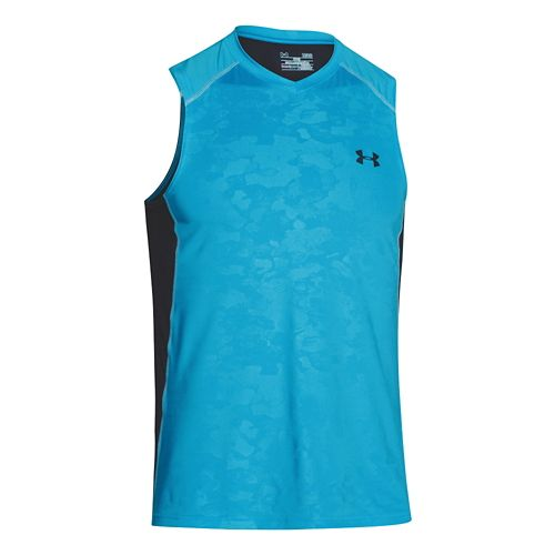 Mens Under Armour Raid Tee Sleeveless Technical Tops - Island Blues/Black 3XL
