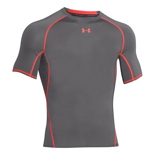 Mens Under Armour Raid Tee Short Sleeve Technical Tops - Graphite/Bolt Orange L
