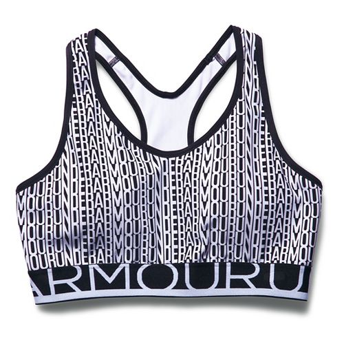 Womens Under Armour HeatGear Alpha Printed with Cups Sports Bras - Black/White XS