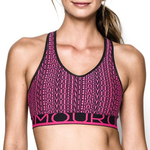 Womens Under Armour HeatGear Alpha Printed with Cups Sports Bras - Rebel Pink S