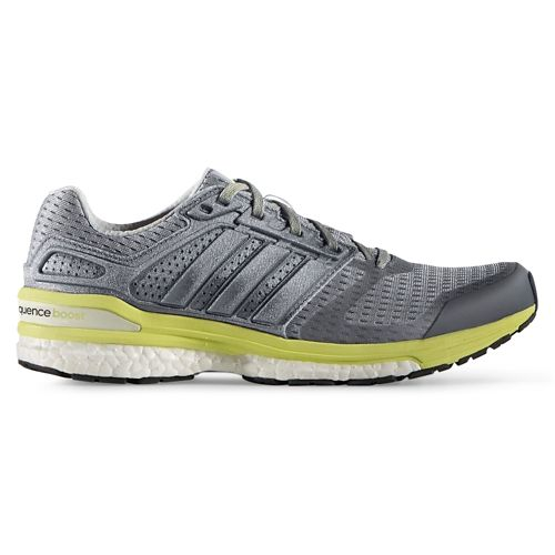 Womens adidas Supernova Sequence 8 Boost Running Shoe - Grey/Yellow 9.5