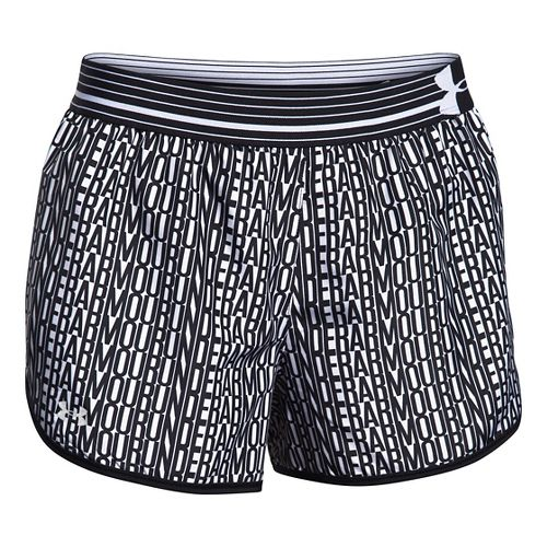 Womens Under Armour Printed Perfect Pace Lined Shorts - Black/White L
