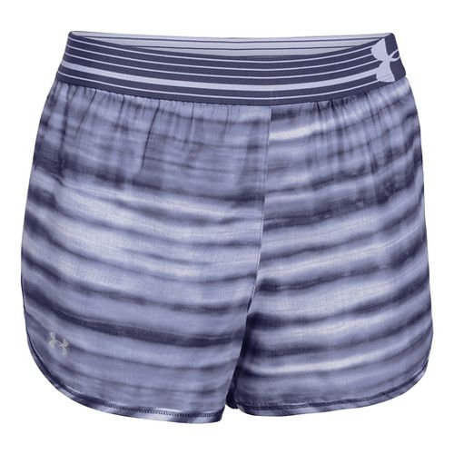 Womens Under Armour Printed Perfect Pace Lined Shorts - Faded Ink/White XS