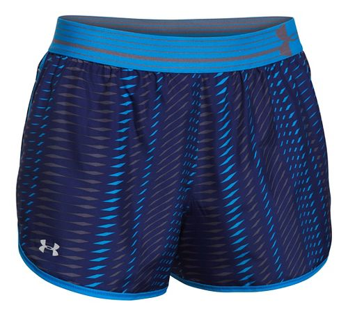 Womens Under Armour Printed Perfect Pace Lined Shorts - Europa Purple/Blue S