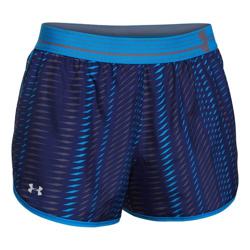 Womens Under Armour Printed Perfect Pace Lined Shorts - Europa Purple/Blue M
