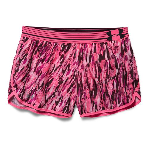 Womens Under Armour Printed Perfect Pace Lined Shorts - Cerise M