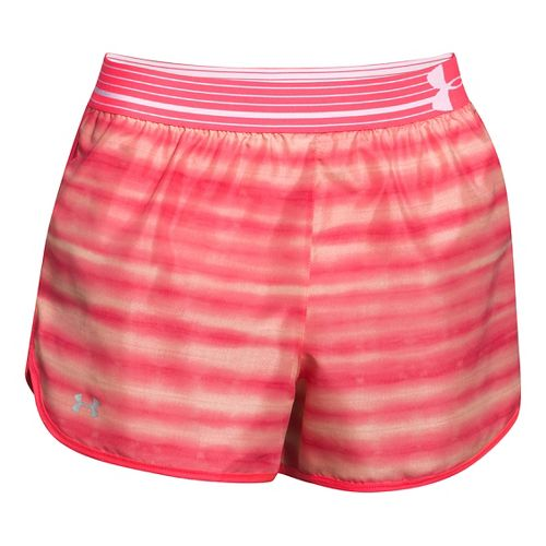 Womens Under Armour Printed Perfect Pace Lined Shorts - Pink Shock/Calla L