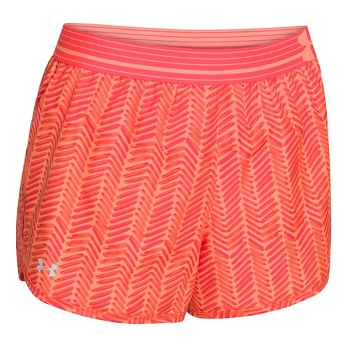 Womens Under Armour Printed Perfect Pace Lined Shorts - Afterglow/After Burn L