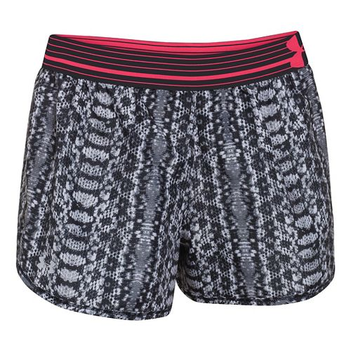 Womens Under Armour Printed Perfect Pace Lined Shorts - Faded Ink/White XL