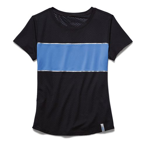 Womens Under Armour Fly Fast Mesh Short Sleeve Technical Tops - Black/Picasso Blue XS