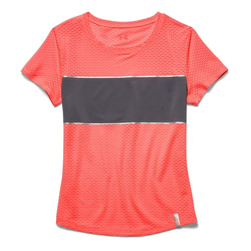 Womens Under Armour Fly Fast Mesh Short Sleeve Technical Tops - After Burn/Gray XL