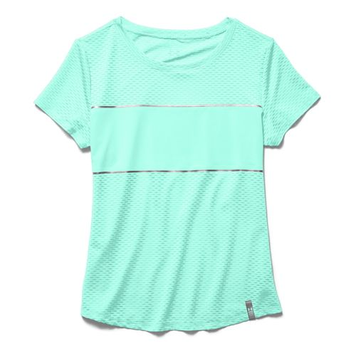 Womens Under Armour Fly Fast Mesh Short Sleeve Technical Tops - Crystal XS