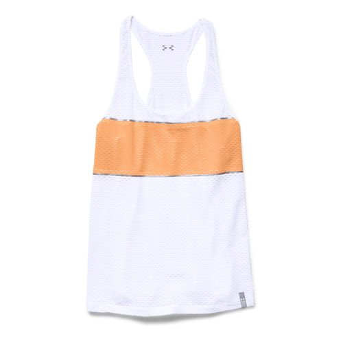 Womens Under Armour Fly Fast Tank Technical Tops - White/Afterglow L