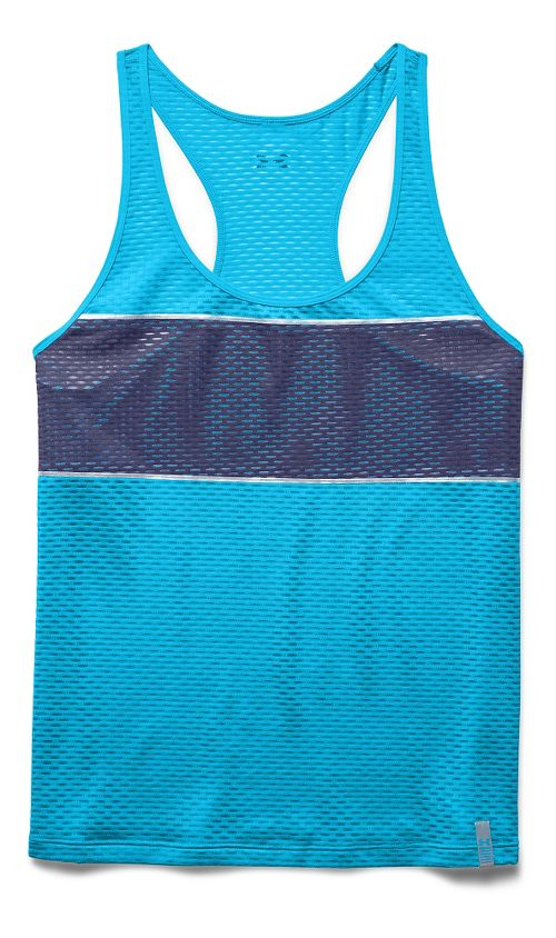 Womens Under Armour Fly Fast Tank Technical Tops - Blues/Faded Ink S