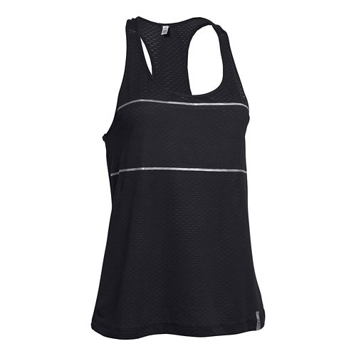 Womens Under Armour Fly Fast Tank Technical Tops - Crystal/Plantation M