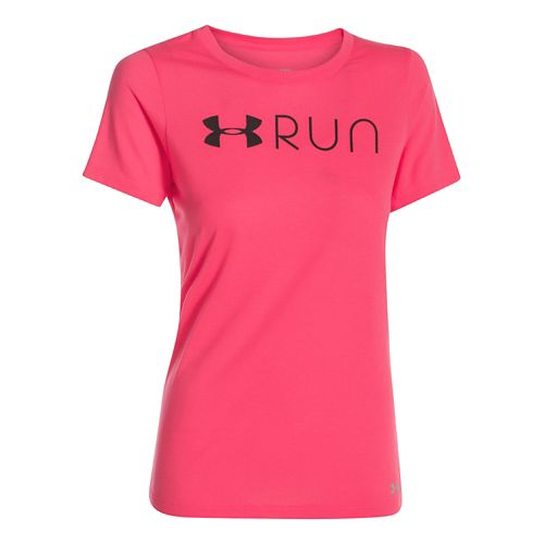 Womens Under Armour Run Lockup Short Sleeve Technical Tops - Pink Shock L