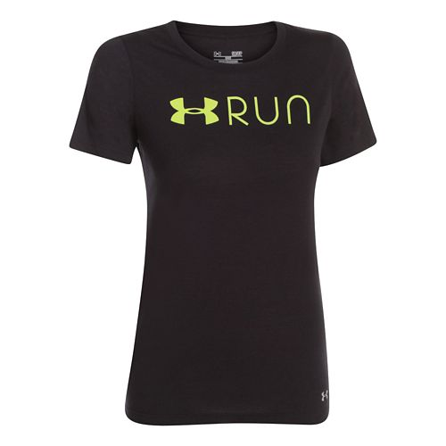Womens Under Armour Run Lockup Short Sleeve Technical Tops - Silver Heather L