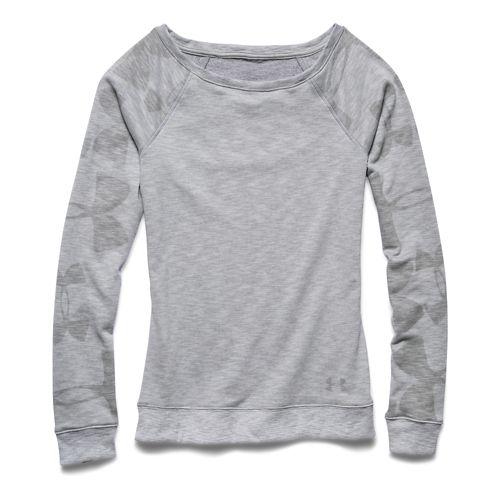 Womens Under Armour Kaleidalogo Pullover Long Sleeve No Zip Technical Tops - True Gray Heather ...