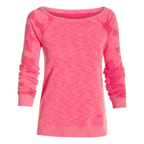 Womens Under Armour Kaleidalogo Pullover Long Sleeve No Zip Technical Tops - Pink Shock L ...