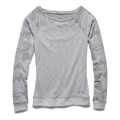 Womens Under Armour Kaleidalogo Pullover Long Sleeve No Zip Technical Tops - Silver Heather XS ...