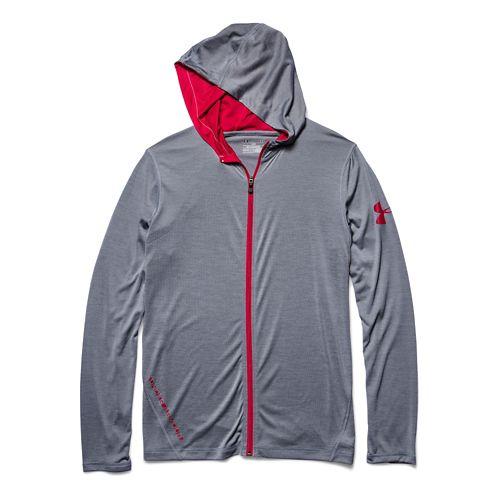 Mens Under Armour Longsleeve Tech Full-Zip Warm Up Hooded Jackets - Steel XXL