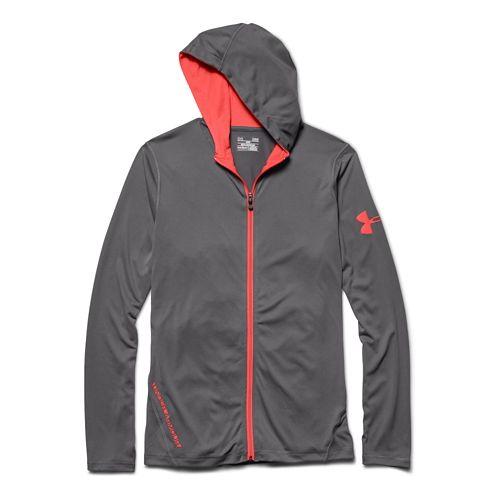 Mens Under Armour Longsleeve Tech Full-Zip Warm Up Hooded Jackets - Graphite XL