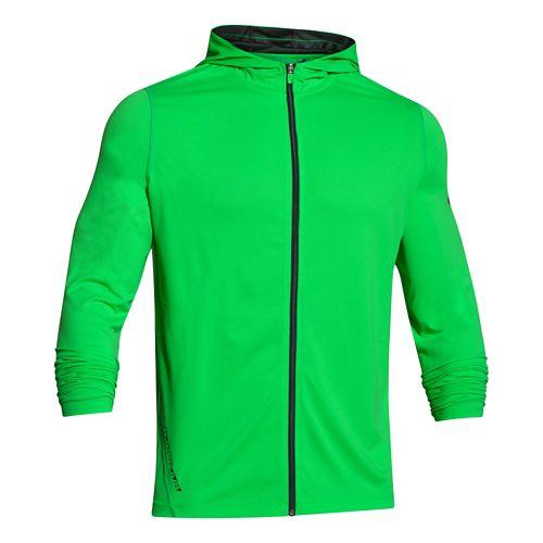 Mens Under Armour Longsleeve Tech Full-Zip Warm Up Hooded Jackets - Green Energy 3X