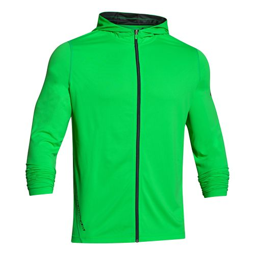 Mens Under Armour Longsleeve Tech Full-Zip Warm Up Hooded Jackets - Green Energy XXL