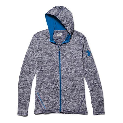 Mens Under Armour Longsleeve Tech Full-Zip Warm Up Hooded Jackets - Midnight Navy XXL