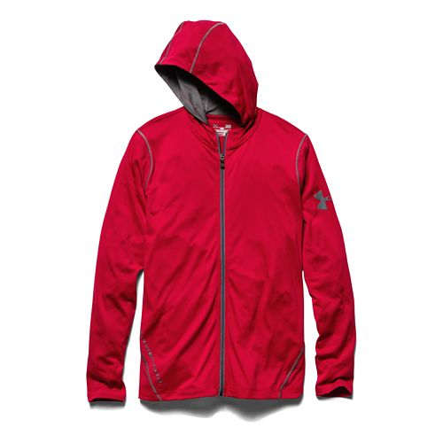 Mens Under Armour Longsleeve Tech Full-Zip Warm Up Hooded Jackets - Red L