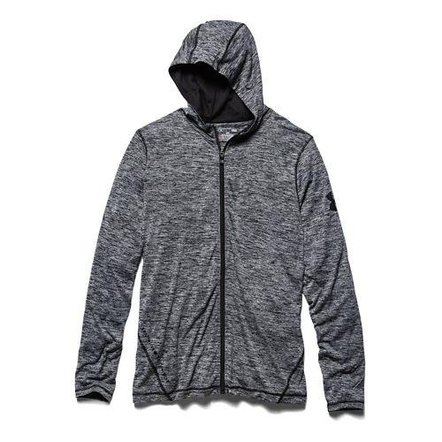 Mens Under Armour Longsleeve Tech Full-Zip Warm Up Hooded Jackets - Steel XL