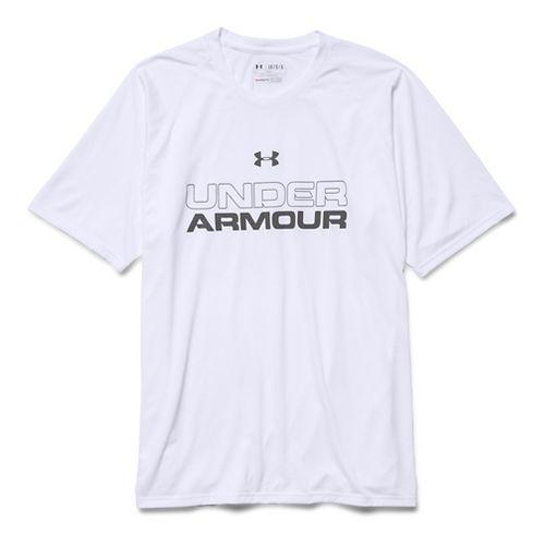 Mens Under Armour Core Wordmark Tee Short Sleeve Technical Tops - White/Steel S