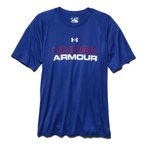 Mens Under Armour Core Wordmark Tee Short Sleeve Technical Tops - Royal/Red L