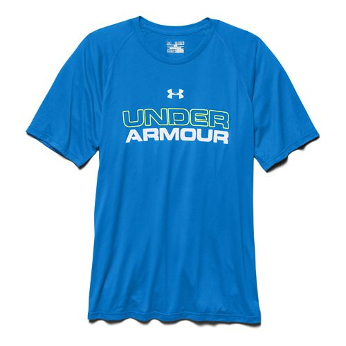 Mens Under Armour Core Wordmark Tee Short Sleeve Technical Tops - Blue Jet/X-Ray L