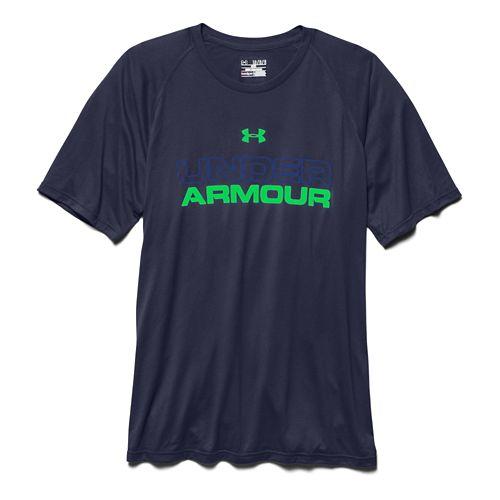 Mens Under Armour Core Wordmark Tee Short Sleeve Technical Tops - Midnight Navy/Royal S