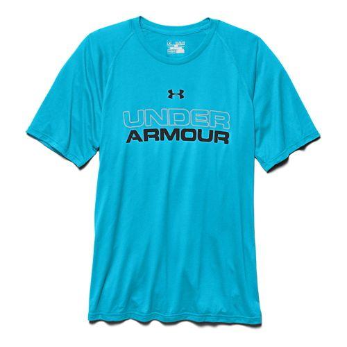 Mens Under Armour Core Wordmark Tee Short Sleeve Technical Tops - Island Blues L