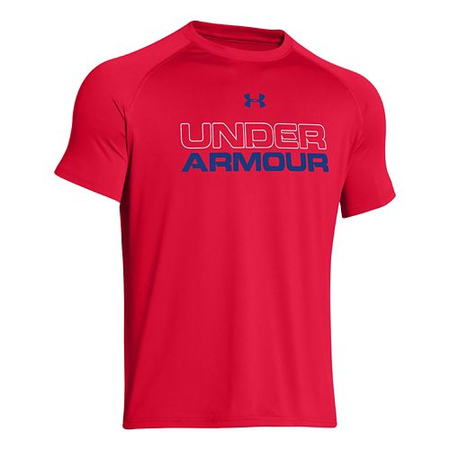 Mens Under Armour Core Wordmark Tee Short Sleeve Technical Tops - Red/White S