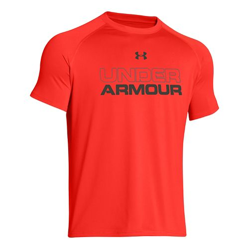 Mens Under Armour Core Wordmark Tee Short Sleeve Technical Tops - Bolt Orange XXL