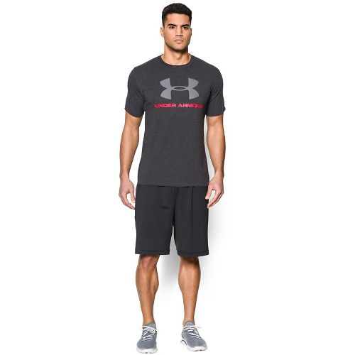 Mens Under Armour Charged Cotton Sportstyle Logo Short Sleeve Technical Tops - Black 3XL