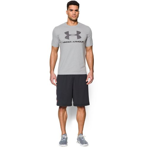 Mens Under Armour Charged Cotton Sportstyle Logo Short Sleeve Technical Tops - True Grey Heather L