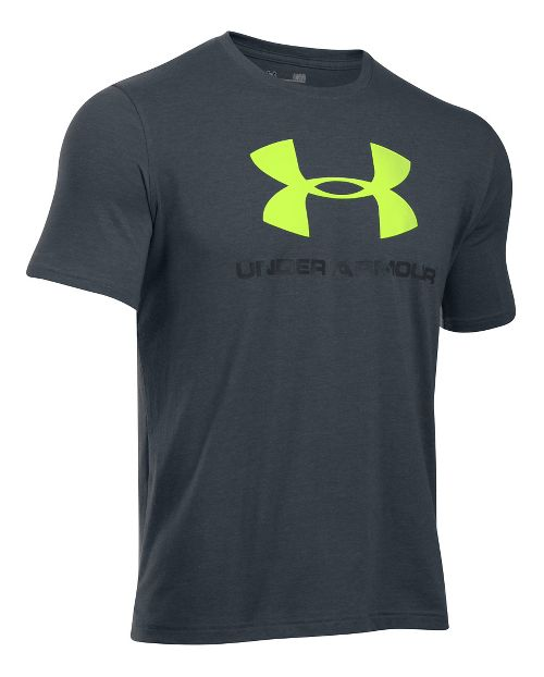 Mens Under Armour Charged Cotton Sportstyle Logo Short Sleeve Technical Tops - Carbon Heather L