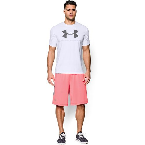 Mens Under Armour Charged Cotton Sportstyle Logo Short Sleeve Technical Tops - White/Blue-Grey XXL