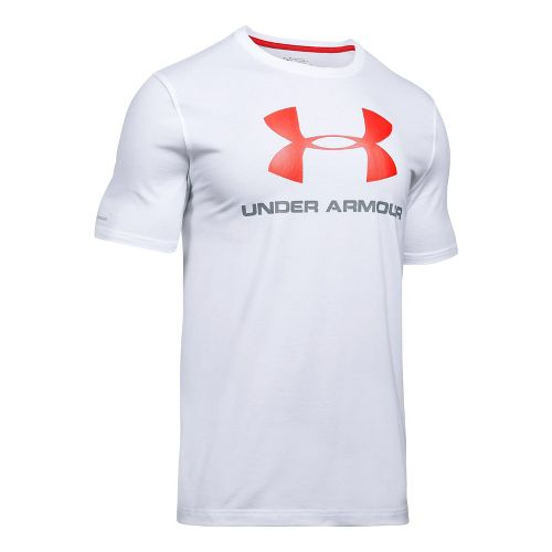 Mens Under Armour Charged Cotton Sportstyle Logo T Short Sleeve Technical Tops - White/Steel ...