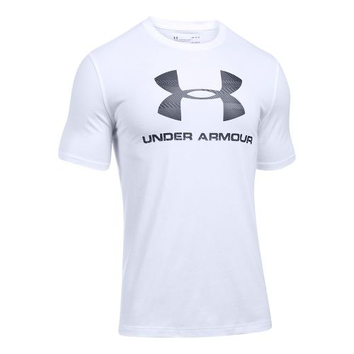 Mens Under Armour Charged Cotton Sportstyle Logo Short Sleeve Technical Tops - White/Black L