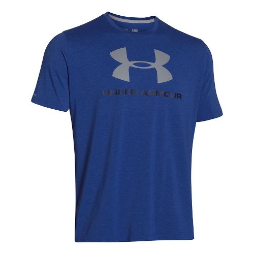 Mens Under Armour Charged Cotton Sportstyle Logo T Short Sleeve Technical Tops - Royal/Midnight ...